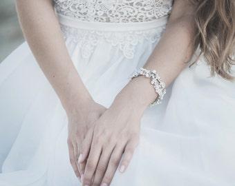 Freshwater Pearl Wedding Bracelet, Swarovski Crystal Bridal Bracelet, Opal Crystal, Wedding Jewelry for Bride
