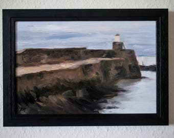 Seascape, Scottish Lighthouse - classical academic original oil painting
