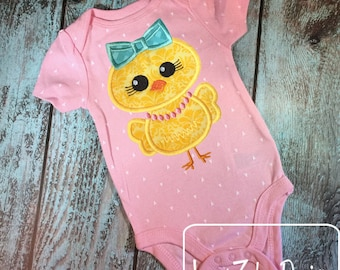 Chick Girl applique embroidery Design - Easter appliqué design - chick appliqué design - farm appliqué design - girl appliqué design