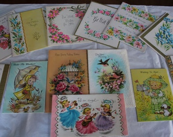 13 Vintage Get Well Greeting Cards