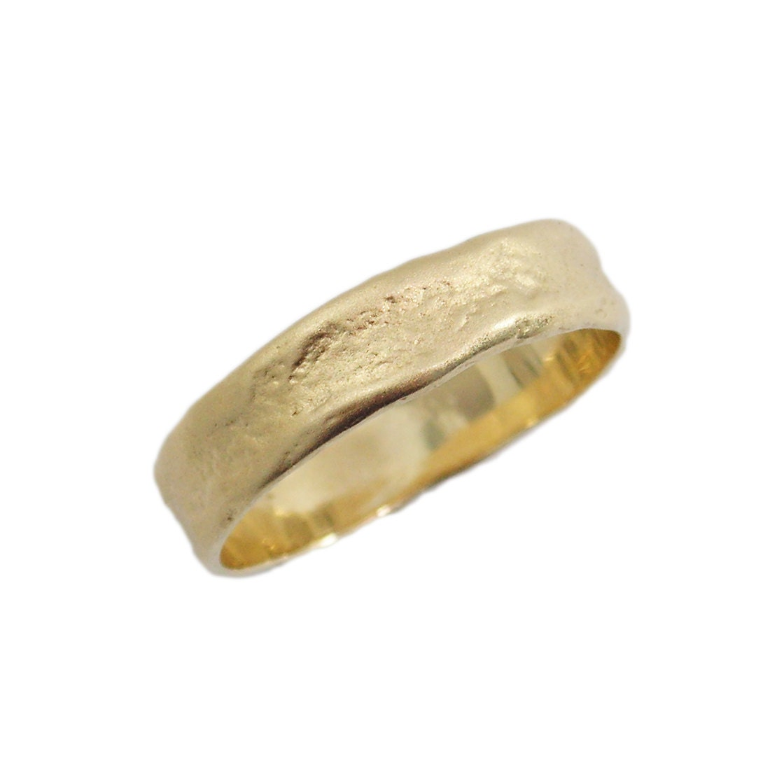 Men gold ring. 14k matte gold Hand Molded wedding band.