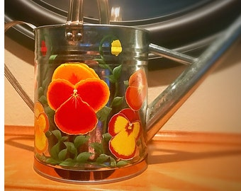 Pansy Watering Can, Orange colors, Large
