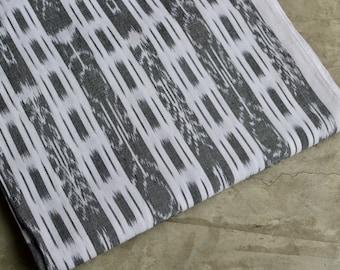 Gray Ikat Fabric (#34) from Guatemala - 100% Cotton - Handwoven Fabric - By yard