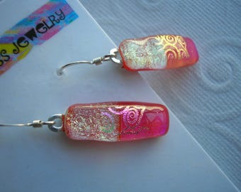 Hot Pink Earrings, Dichroic Fused Glass, Cherry Red & Champagne, Dangle Drop, Fused Glass Jewelry, Handmade Dichro,  Iridescent Color