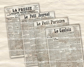 Newsprint French Newspaper Pages Antique Pages Digital Paper Clipart Printable Downloads for Backgrounds Depoupage Giftwrap Journals 746
