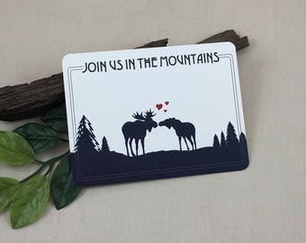 Navy Kissing Moose Join us in the Mountains Save the Date Postcards // Rustic Wedding Save the Date Postcards