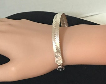"Vintage Silver Bracelet !!FREE SHIPPING!! Signed Milor Italy 925 Sterling Silver 5/16"" Wide Herringbone Chain Vintage Silver Jewelry"