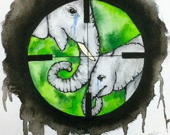 Original signed watercolour painting 'Say NO to poaching'.