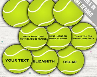 Tennis Tags (Tennis Party Decor/ Favor Tags). Printable PDF (EDITABLE). Instant Download.