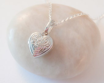 sterling silver heart locket necklace, heart locket necklace, mother's locket necklace, engraved flower locket necklace, gift for mum,