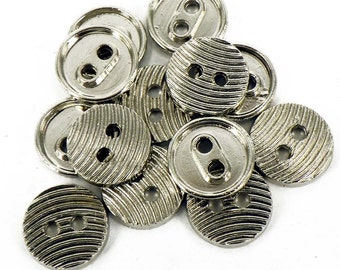 10 x Silver Costume Sewing Theater Buttons 2 Holes Small 12mm  B93