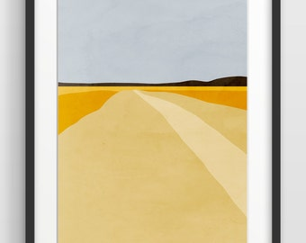 Abstract Modern Art Print, Abstract Landcsape, Mid Century Modern, Landscape Print, Large Wall Art
