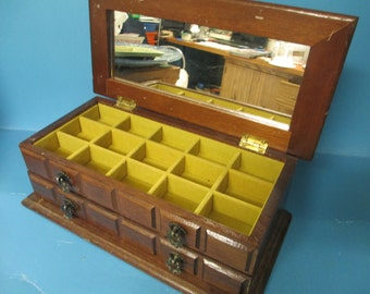 Vintage Wooden jewelrybox with jewelry tray and drawer top fair condition  used