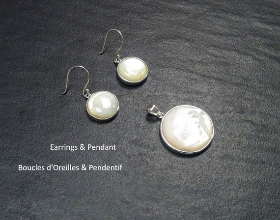 MOP, Mother of Pearl, White, Shell, Natural, Birthstone, Design, Jewelry, 925, Handmade, Set, Pendant, Earrings, Boho, Beach, Cocktail,