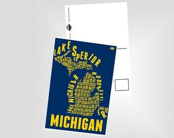 U of M - Michigan County Map Postcard