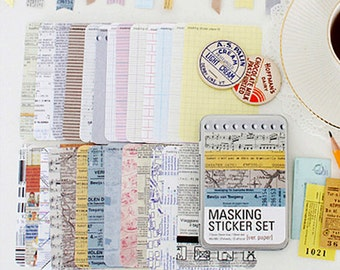 Various Paper Pattern Masking Tape Stickers (27 sheets, tin case)