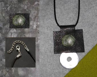 Leather + Stone Pendant on Leather Braided Necklace