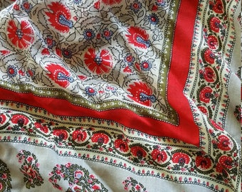 Rayon Oscar Scarf summer cotton Red white vintage