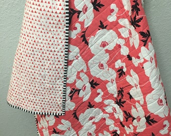 Coral with White Flowers Wholecloth Quilt