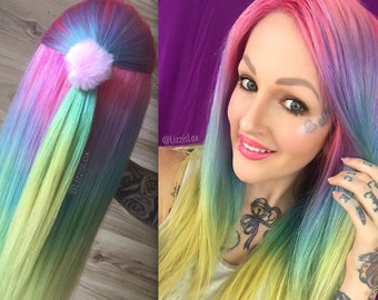 Lace Front Wig - Pastel Ombre Rainbow - 100% REMY Human Hair Wigs - Pink Purple Blue Green Yellow - Pink Purple Blue Green Yellow