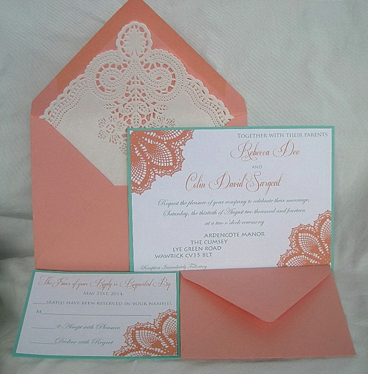 Coral Colored Wedding Invitations: Coral Peach N Turquoise Blue Aqua Teal Blue Lace Wedding