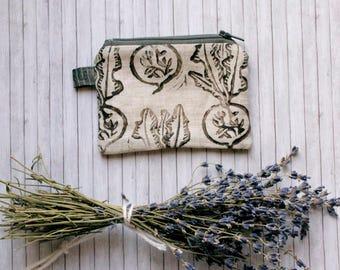 Folk Beet Printed Pouch - one of a kind zipper - lined - Irish Linen Handcarved Stamp - pinstripe - mori girl prairie queen- Handmade in USA