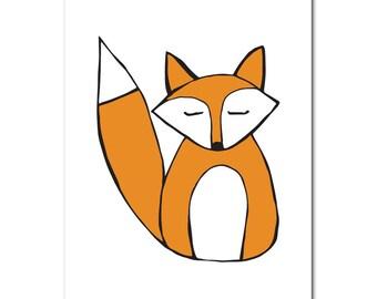 Sleepy fox | Print | A5 | Nursery | On the wall