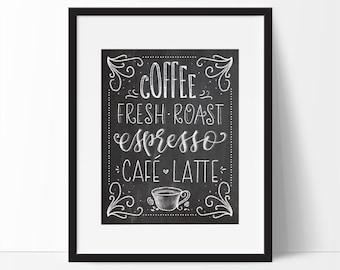 Coffee Art, Kitchen Art, Coffee Art Printable, Chalkboard Print, Espresso Art, Coffee Mug, Black and White Art, Cafe Art, Kitchen Printable.
