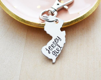Jersey Girl Keychain - Choose Your State Key Ring - Home State - New York, New Jersey, California - Hand Stamped USA Customized Accessory