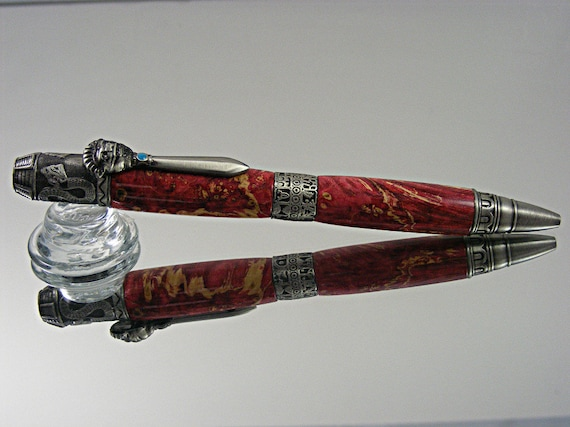 Handcrafted Mayan Ink Pen in Antique Pewter and Red Box Elder