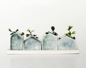 Set of four mini blues houses for very small plants, perfect for small space