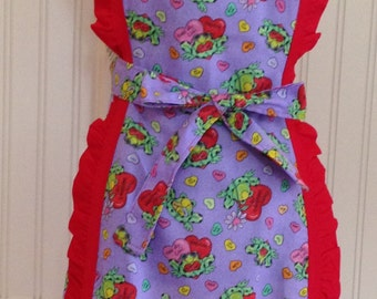 Vintage style full apron purple valentine red hearts green frogs red ruffled trim cross back ties