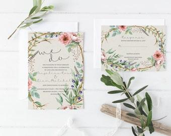 Bohemian Wedding Invitations - Boho Wedding Invites Wedding Suite, Boho Invitation Set, Custom Boho Invitations Floral Invitation -Angeline