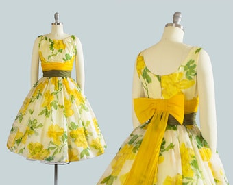 Vintage 1950s Dress | 50s Floral Print Organza Big Bow Yellow Full Skirt Cupcake Formal Party Gown (xs)