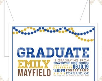 Modern Graduation Announcement Invitation, Graduation Party Invite, Graduation, Retro Grad Invite, Pom pom Garland, Garland, Party Decor