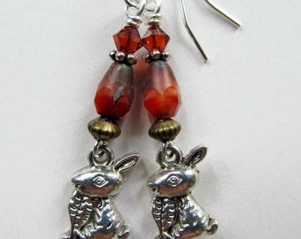 Rabbits - Orange Bunny Czech Glass Beaded Two Tone Sterling Silver Earrings