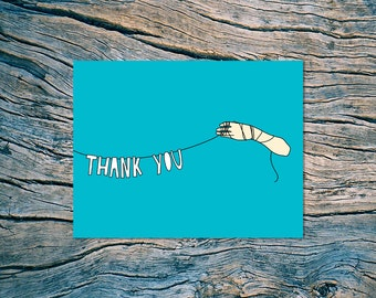 SUPER CLEARANCE SALE! - Thank You (hand banner) - A2 folded note card & envelope