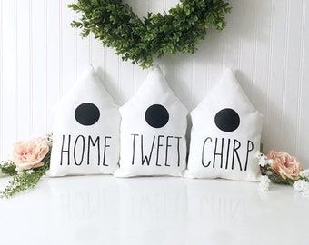 Rae Dunn Inspired Birdhouse Pillow | HOME TWEET CHIRP Decor | Farmhouse Decor | Birdhouse Pillow | Bird House Spring Decor | Entryway Pillow