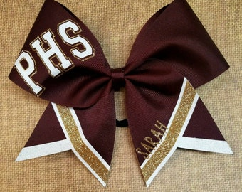 Sidelines Cheer Bow, YOU PICK COLORS, Custom Cheer Bow,  School Cheer Bow,  Big Cheer Bow, Glitter Cheer Bow