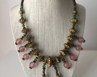 Vintage Egyptian Style Glass & Brass Bead Necklace