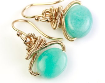 Amazonite Dangle Earrings with Gold Fill Coiled Knots
