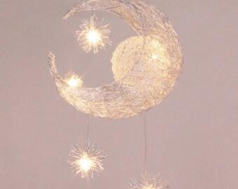 Pendant lights etsy moon star pendant light led pendant lamp kids room nursery mozeypictures Choice Image