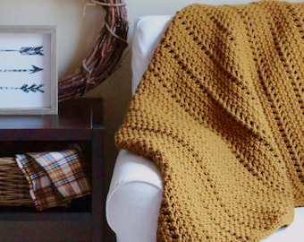 Crochet pattern, chunky blanket pattern, crochet throw pattern, crochet blanket pattern, afghan pattern, home decor, CANYON THROW