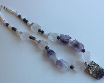 Amethyst and Quartz Nugget Necklace with 925 silver
