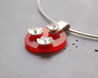 Sterling Silver Necklace with Flowers, Plexi and Silver necklace, Flower Power, Floral Necklace, Contemporary Jewelry