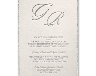 Decked in Pearl Letterpress Wedding Invitation