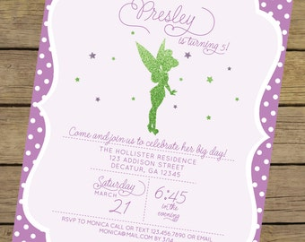 Glitter Fairy Invitation | Fairy Birthday Invitation | Tinkerbell Invite | Tinkerbell Birthday Invitation | Purple & Green