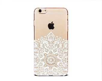 Clear iPhone X case . Galaxy S8/S8 plus/S9/S9 plus case clear white mandala soft silicone iPhone 5se cover - TSW6P018U