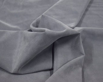 """Grey Polynosic Polyester Microfiber Fabric Shirting Apparel 59"""" Wide By The Yard 36"""" Long"""