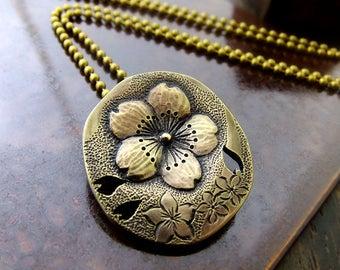 SAKURA Necklace, Cherry Blossoms, Brass Pendant Necklace, Brass Engraving